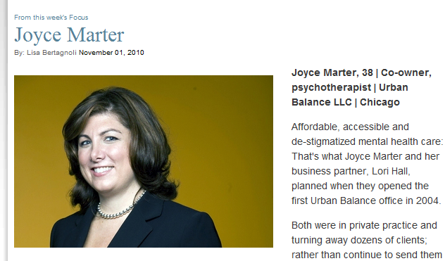 "JOYCE MARTER OF URBAN BALANCE CRAIN'S ""40 UNDER 40"" FOR 2010"